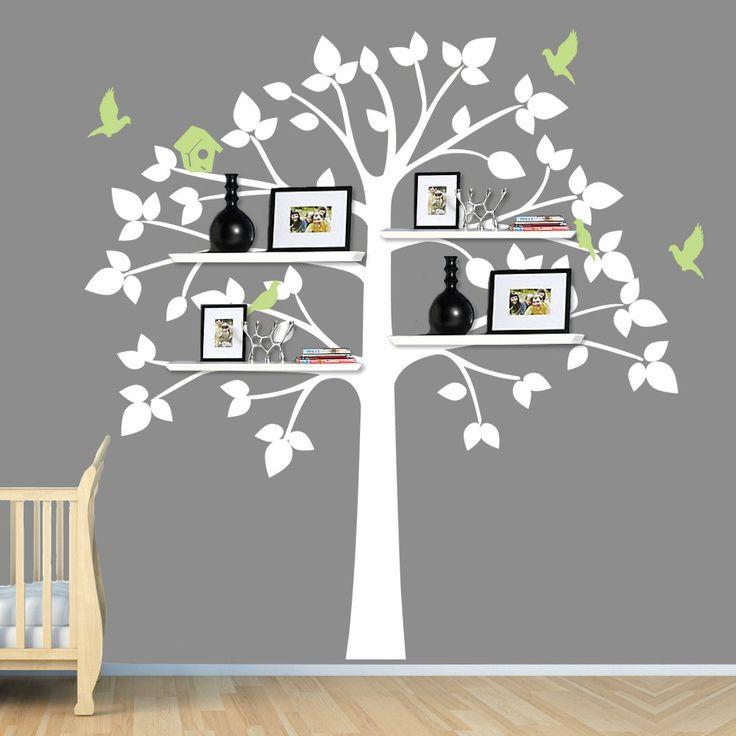 white tree wall decal baby nursery decor shelving tree tree with fruit shelf art stickers