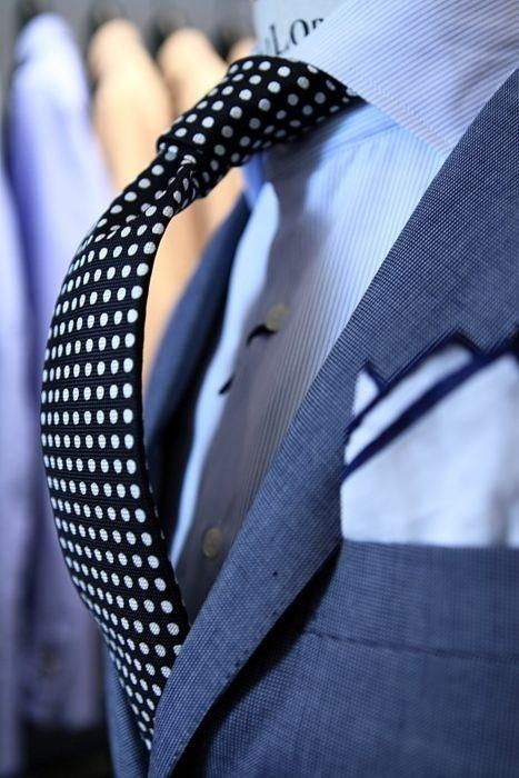 Trendy Black White Polka Dot Tie Paired With Steel Blue