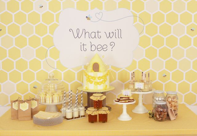 bee themed gender reveal baby shower party ideas