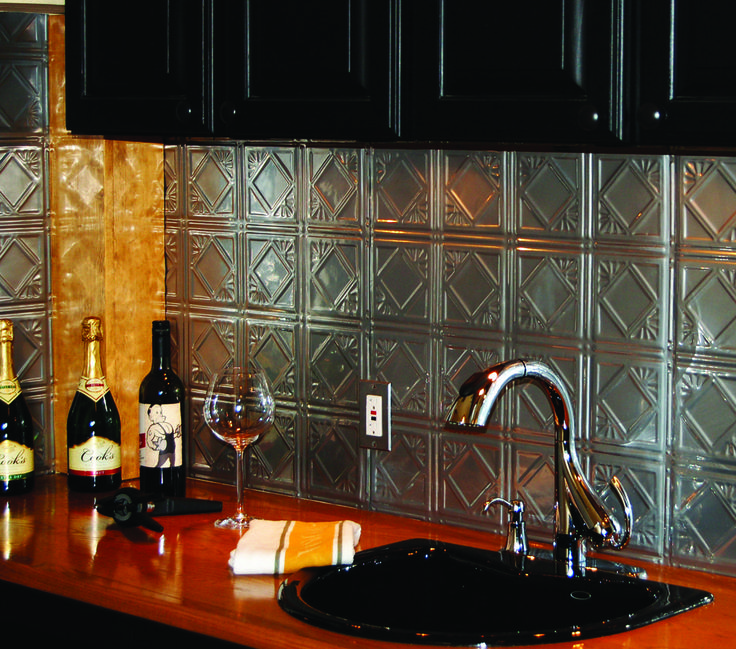 Clear Powder Coated Backsplash Tin Panels Easily Install With An