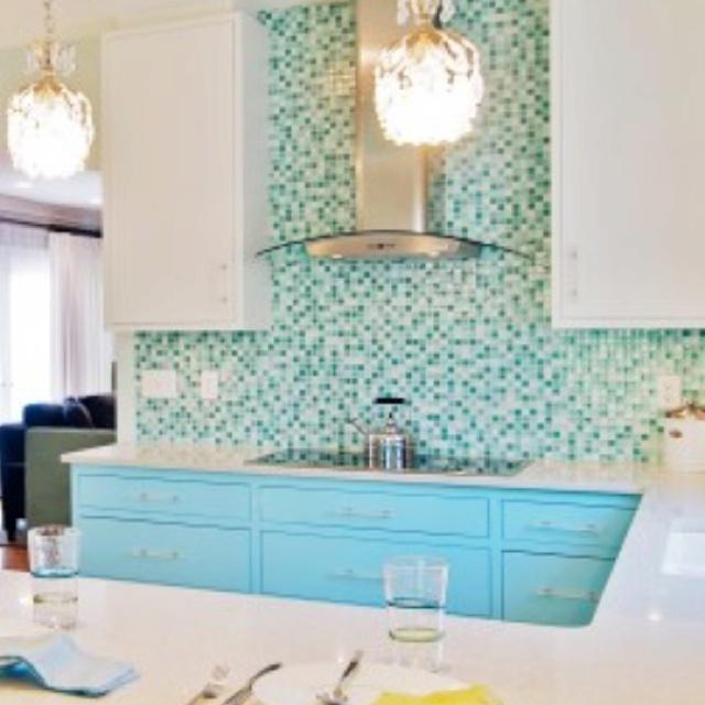 turquoise backsplash tile fab  Kitchens  Pinterest