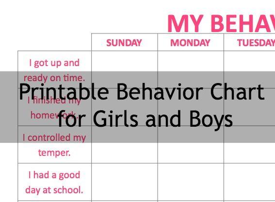 Printable behavior chart for boys and girls: #ADHD