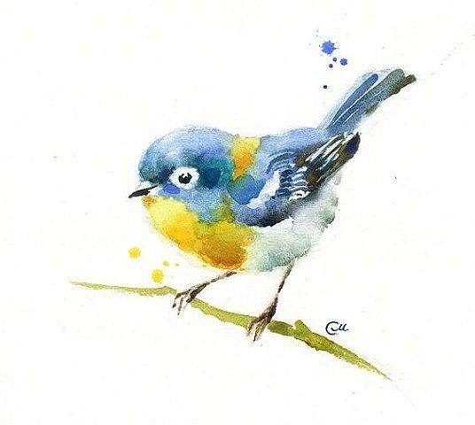 Рисунок акварелью птичка