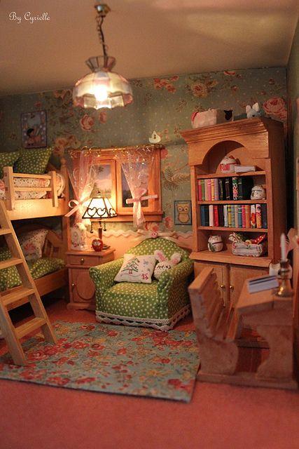 Miniature dollhouse bedroom