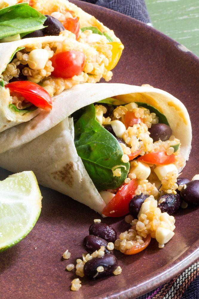 Vegan Quinoa and Black Bean Wraps with Hummus: #Secret Recipe Club ...