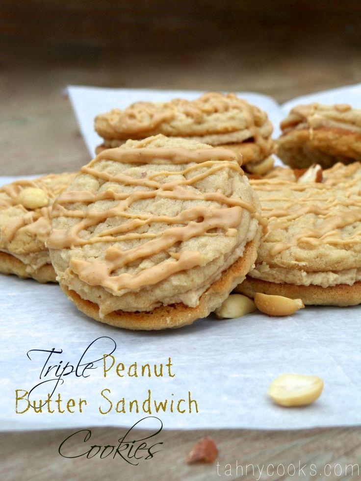 Triple Peanut Butter Sandwich Cookies   Cookies   Pinterest
