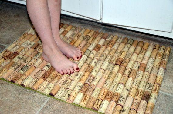 Wine cork bath mat kitchen sink floor mat or door rug for Wine cork welcome mat