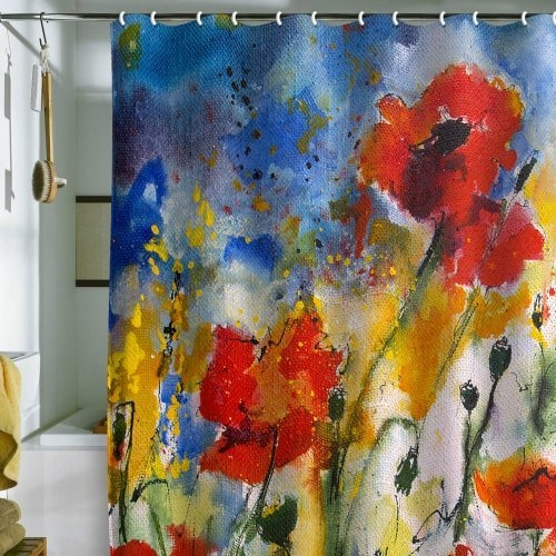 Shower Curtain Wildflowers Poppies 2 (by DENY Designs) by DENY Designs ...