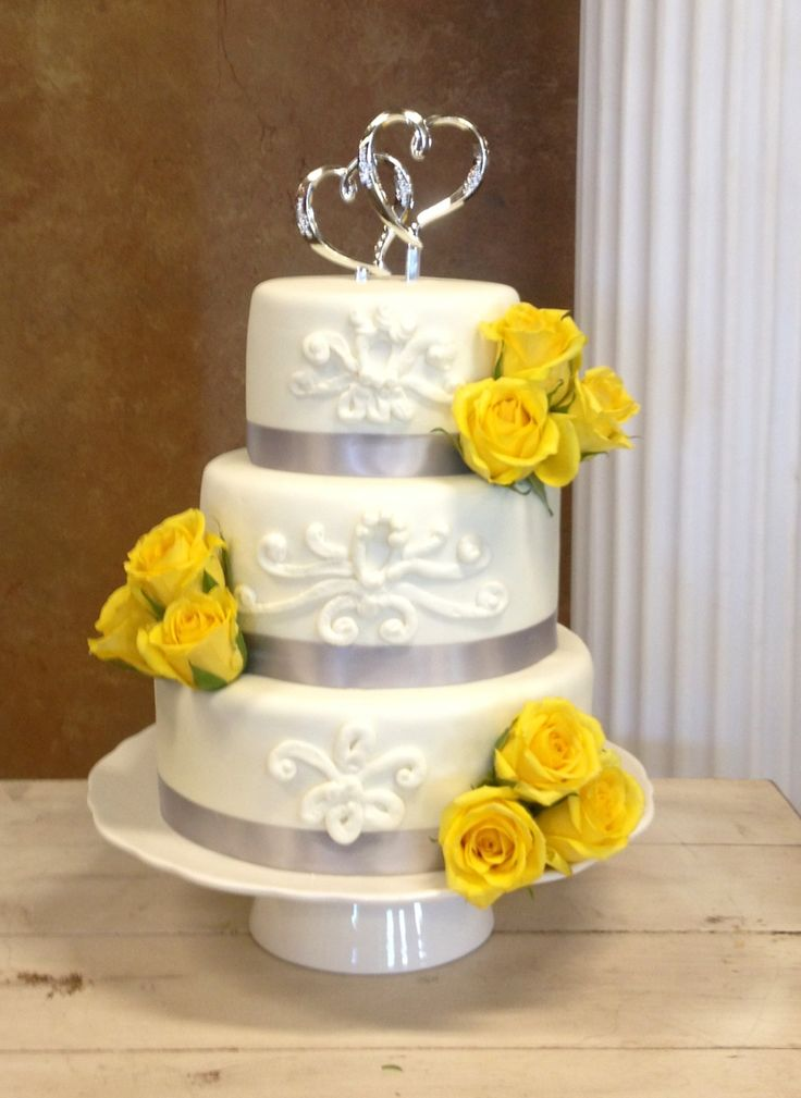 wedding cake yellow and gray my cakes and cupcakes pinterest