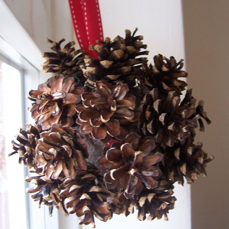 Diy pine cone christmas ornament pinecones pinterest for Christmas pine cone decorations to make