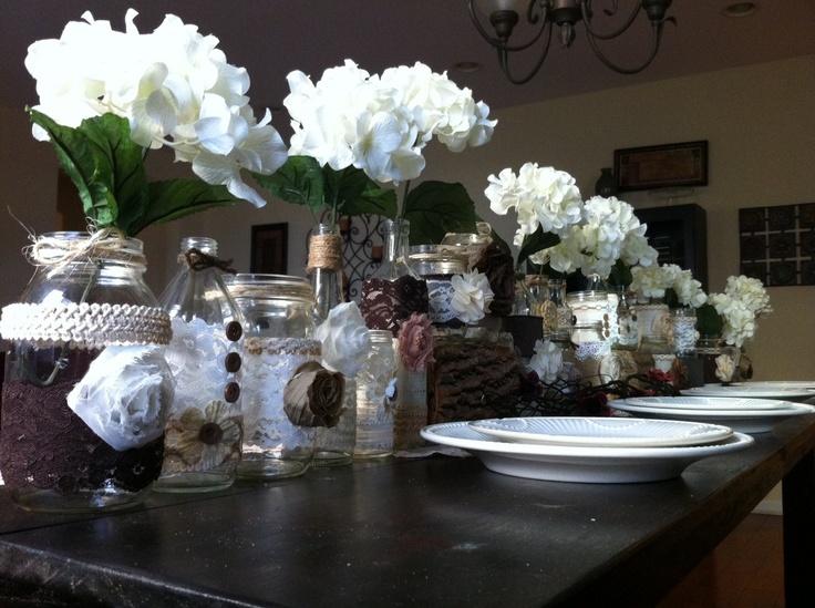 Rustic wedding decor 50 bulk burlap lace mason jars for Cheap table lanterns for weddings