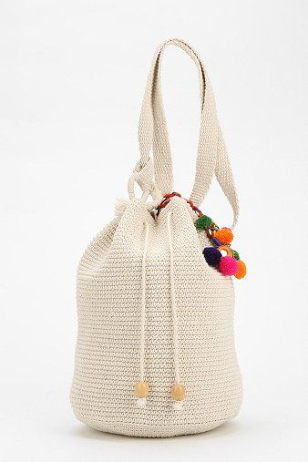 Crochet Bucket Bag : crochet beach bucket bag with pom pom detail