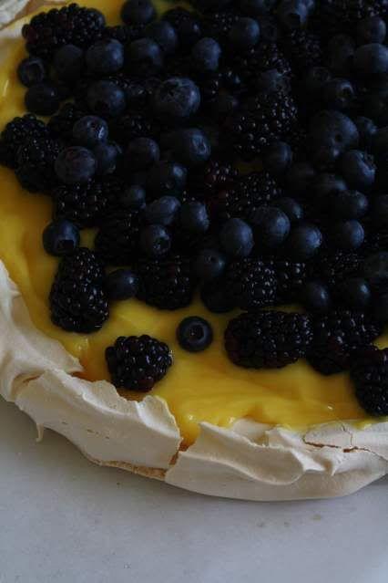 Pavlova with Lemon Curd and Berries (I make individual meringue shells ...