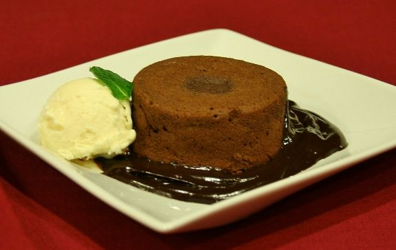 Molten Chocolate Cakes With Mint Fudge Sauce Recipe — Dishmaps
