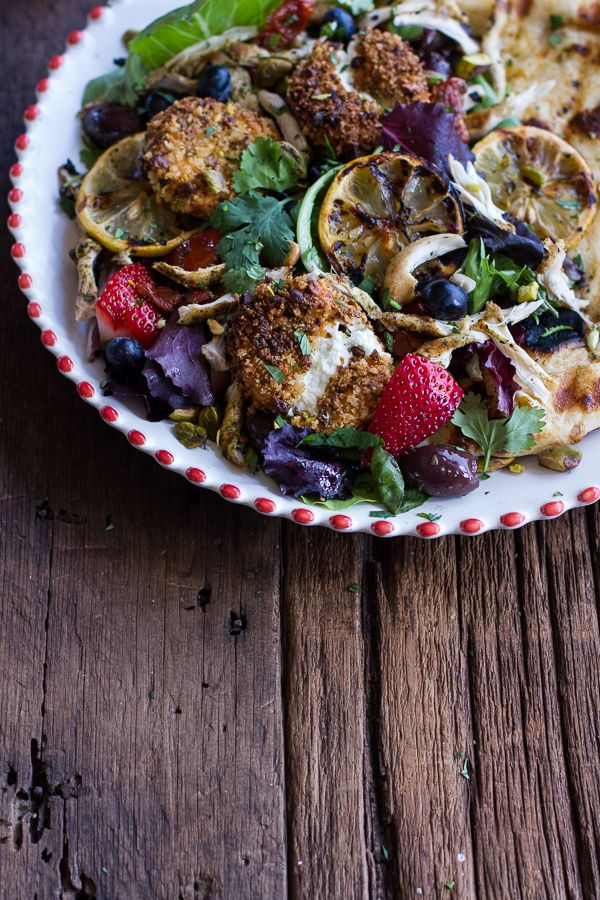 Moroccan Chicken Salad with Pistachio Crusted Fried Goat Cheese + Gar ...
