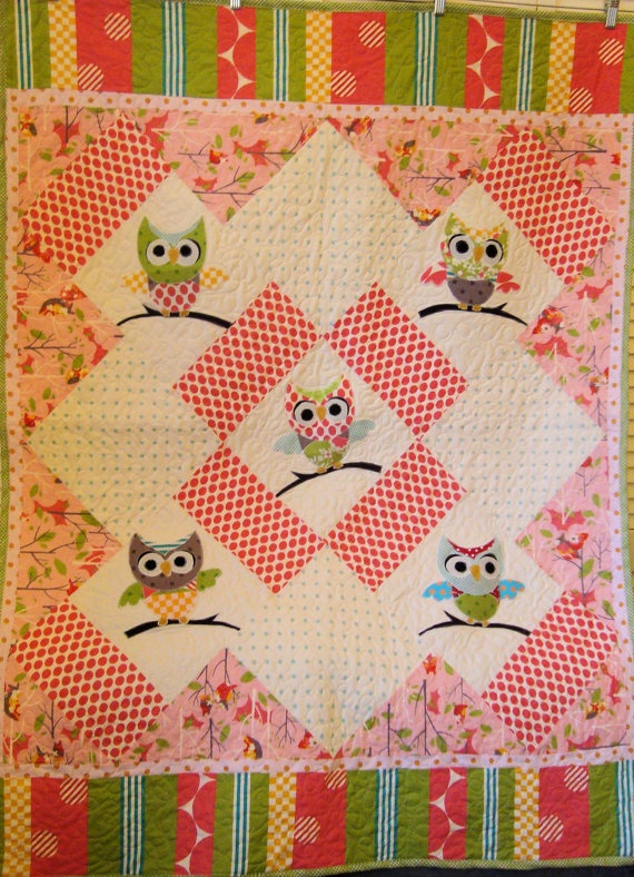 Very Cute Appliqued Pink Owl Baby Quilt
