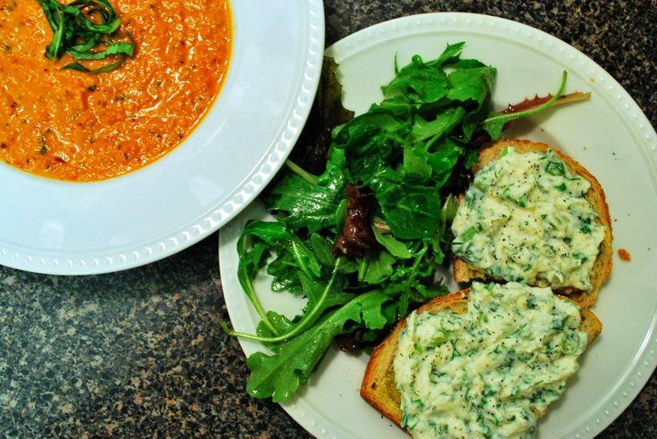 ... Basil Soup and Herbed Ricotta Bruschetta! #soup #winter #comfortfood