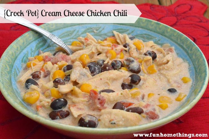Crock Pot Cream Cheese Chicken Chili | Crock pot meals | Pinterest