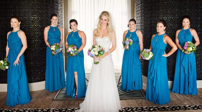 Royal blue bridesmaids dresses, featured in Ben & Angie