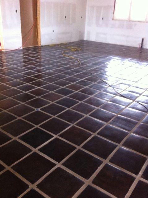 Staining floor tile