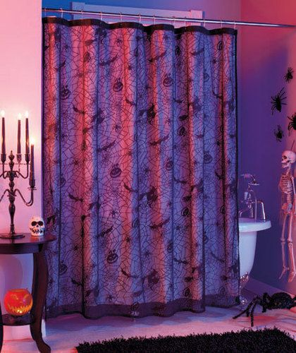 Spiderweb Lace Bathroom Shower Curtain Halloween Haunted House Home D