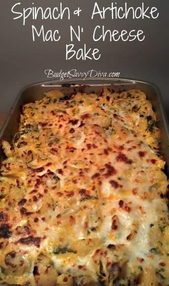 spinach and articoke mac n' cheese bake (receipe)