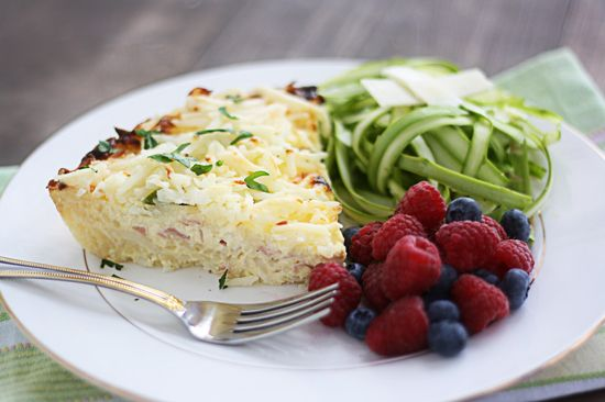 Hash Brown Quiche with Asparagus & Swiss | Recipe