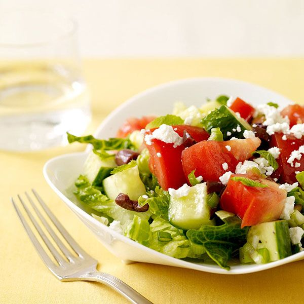 Greek salad is a year-round favorite. We lightened up the dressing by ...