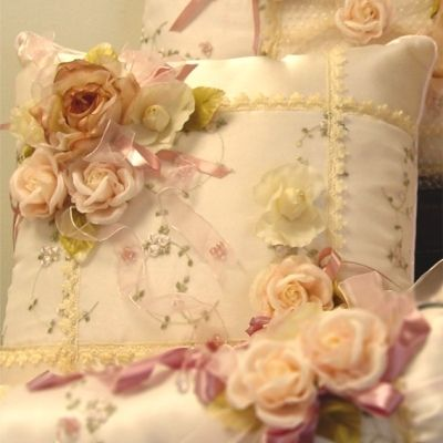 rose decorated pillow