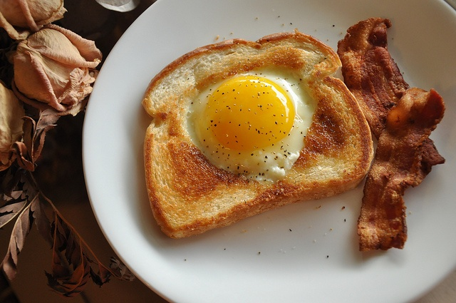Egg in a hole 2 and bacon | Breakfast | Pinterest