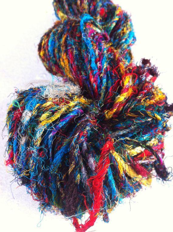 Silk Knitting Yarn : Handspun sari silk yarn. Art Yarn. Knitting yarn. Multicolored. Beaut ...