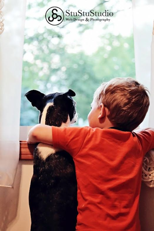 Best Friends! A kid with his arm around a dog looking out of the window.
