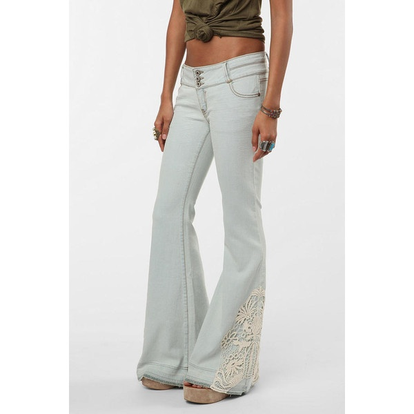 Crochet Jeans : Staring at Stars Flare Low-Rise Crochet Jean - Light Blue - Size 28 ($ ...