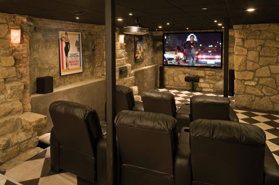 Basement home theater home theaters media rooms for Basement theater room