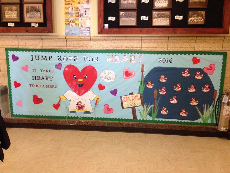 Jump rope for heart bulletin board february 2014 duck theme