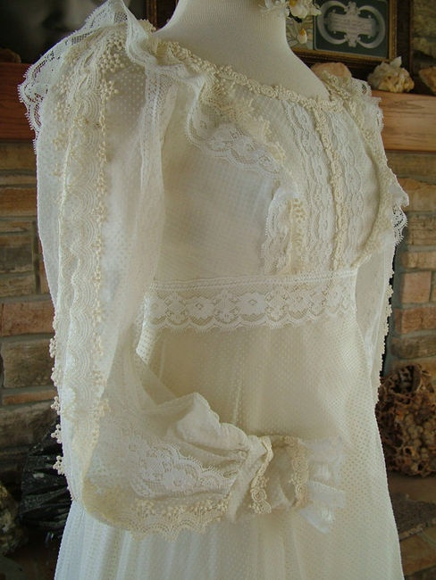 Vintage 1970s Wedding Dress Dotted Swiss