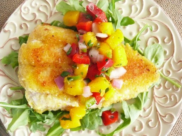 Cornmeal Crusted Catfish with Mango Salsa - because, yes...I'm a ...