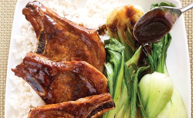 Cola Braised Pork Chops with Bok Choy and Sticky Rice