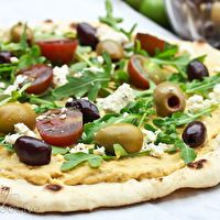 Grilled Pizza Layered with Hummus, Fresh Veggies, Olives and Feta by A ...
