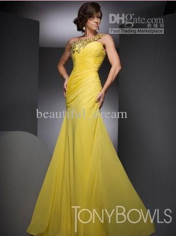 One shoulder wedding dress yellow us free shipping