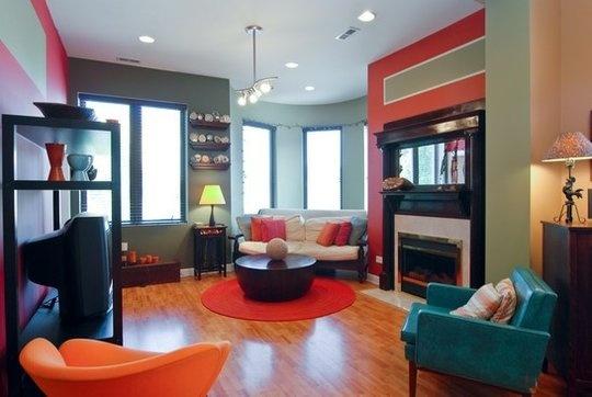 Teal And Orange Home Living Room Pinterest