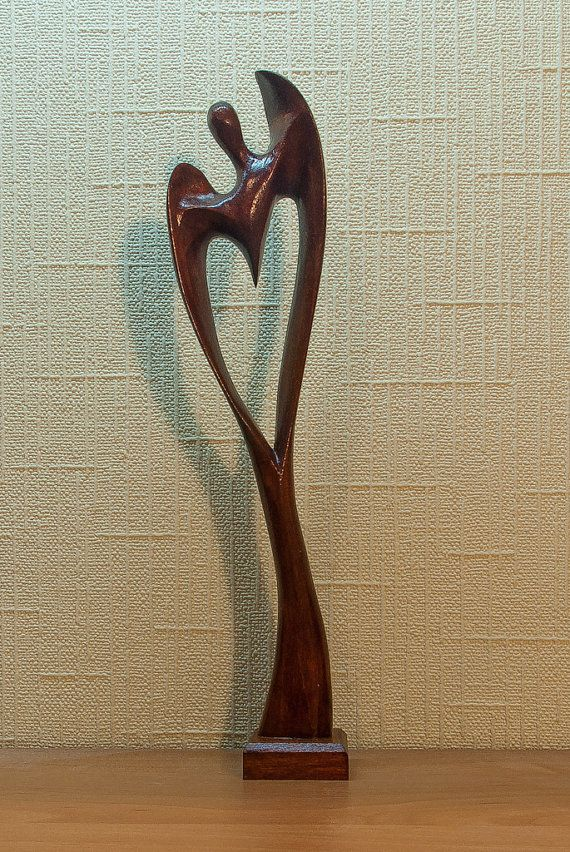 Hand carved wooden angel in the shape of heart figurine