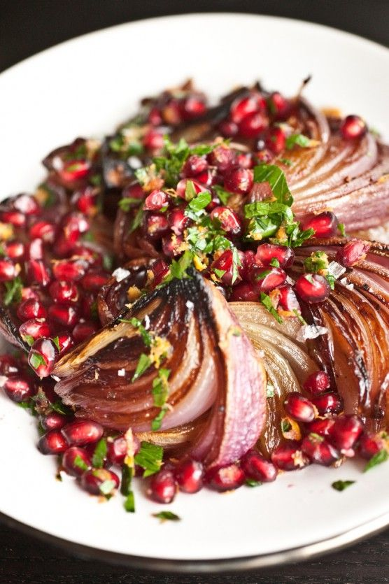 Roasted Red Onions with Pomegranate Gremolata