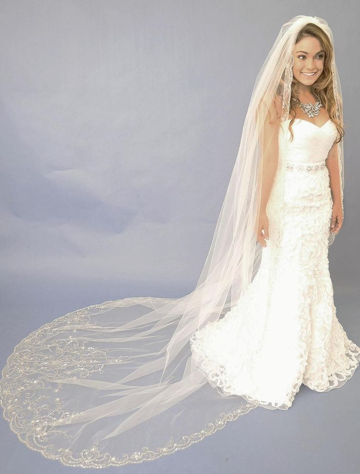 beaded embroidery cathedral length wedding veil e1122l