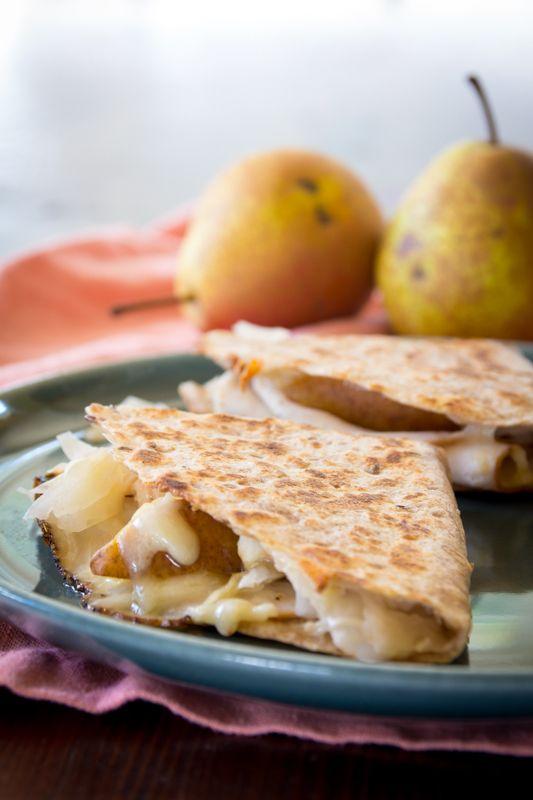 Turkey Reuben Quesadilla with Cheddar and Pear! #recipe #easy #reuben ...