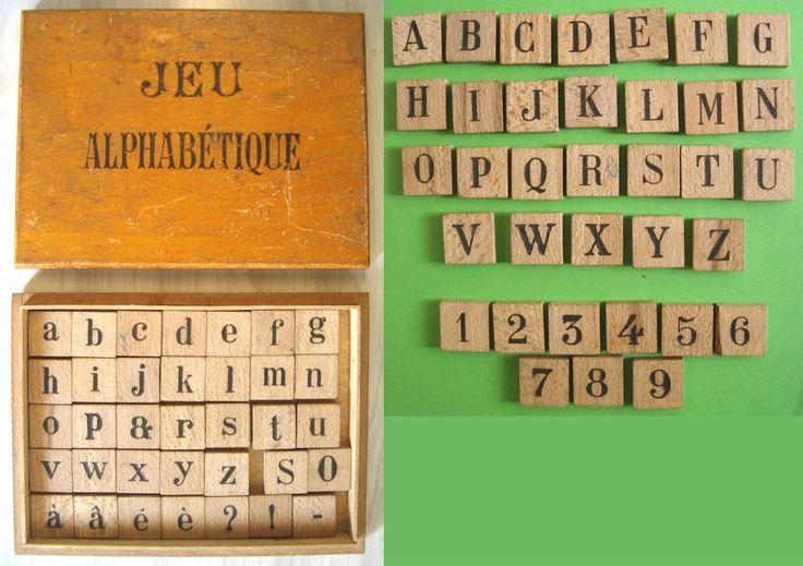 ANCIEN JEU ALPHABETIQUE des Années 1940COFFRET et lettres  ~ Jeu En Bois Ancien