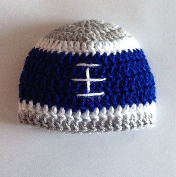 Dallas Cowboys Crochet Baby Hat Pattern : Crochet Football Hat, Dallas Cowboys Baby Hat, NFL Baby ...