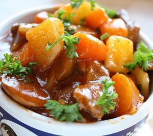 Irish beef stew.Cubed beef with vegetables cooked in slow cooker..
