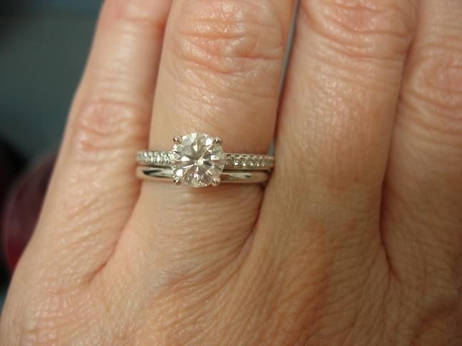 plain wedding band with micropave e ring wedding rings
