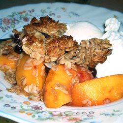 Raspberry Peach Crumble. One of my favorite desserts.... I've been ...